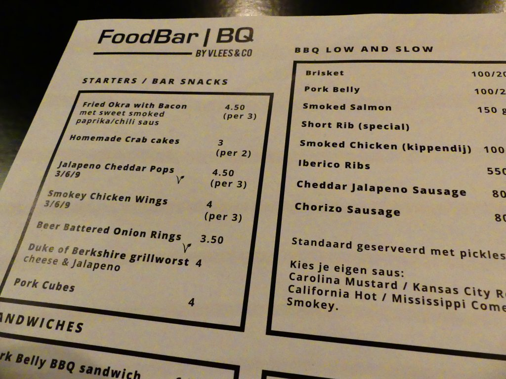 FoodBarBQ Arnhem menu